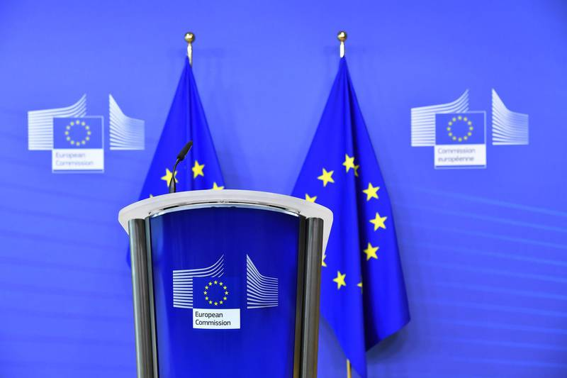 An empty podium ahead of a news conference with Ursula von der Leyen, president of the European Commission, at the Berlaymont building in Brussels, Belgium, on Sunday, Dec. 13, 2020. Prime MinisterBoris Johnsonand von der Leyenare expected to agree to allow negotiations over a post-Brexit trade deal to continue beyond Sunday's deadline. Photographer: Geert Vanden Wijngaert/Bloomberg