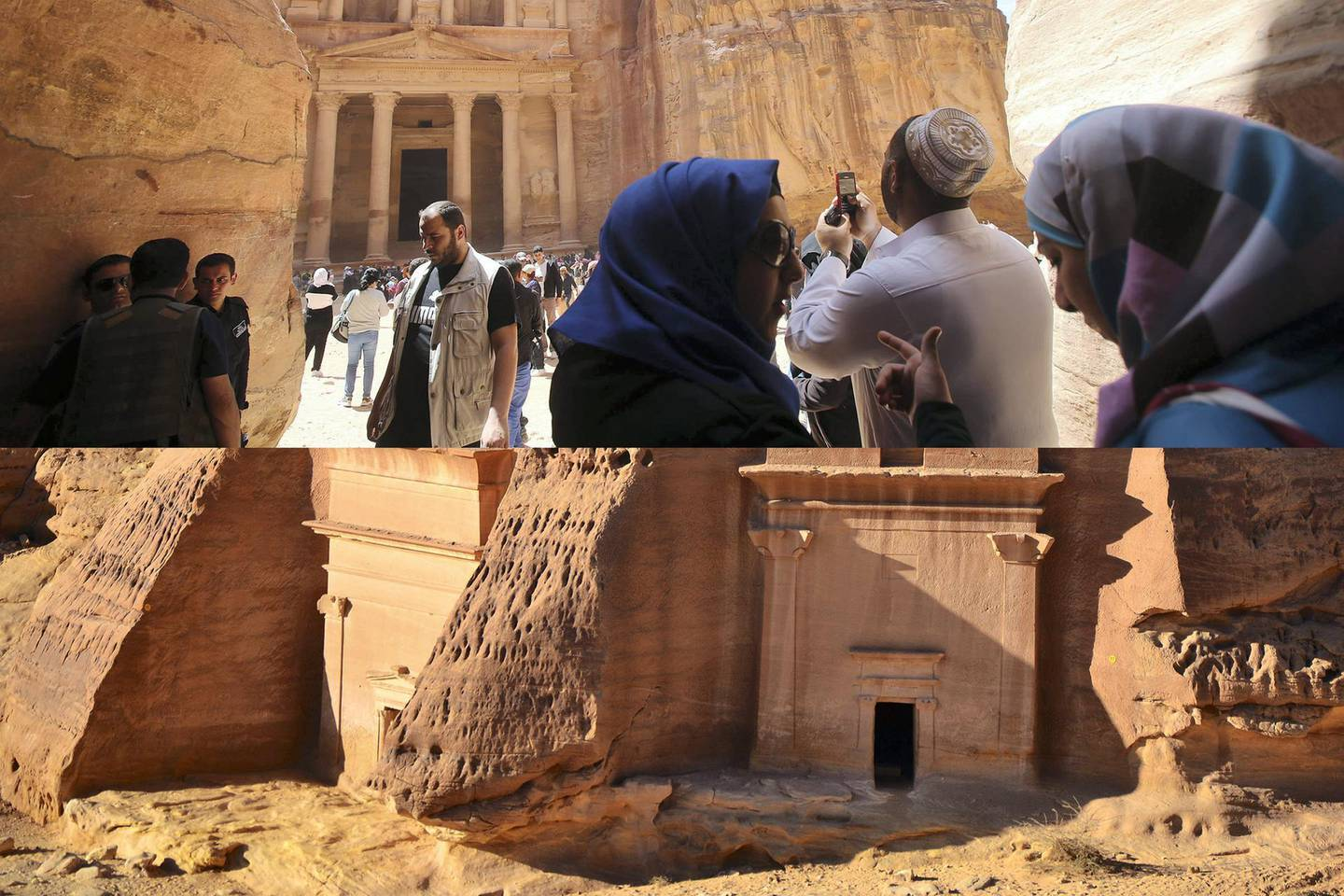 PETRA, JORDAN- APRIL 3: Tourists visit the legendary Petra, Jordan's most famous tourist attraction on April 3, 2015 in Petra, Jordan. Stakeholders have put together an urgent marketing plan to 'salvage' the Kingdom's tourism industry by promoting national tourist products in new and traditional markets worldwide, according to Tourism Minister Nayef Al Fayez. Visits to Jordan and its famous archeological site of Petra have plummeted because of unrest in the broader Middle East, and discounts on airfare and tours to the country have yet to bring visitor numbers back to levels seen in years past. The number of Arab tourists has not been affected by the regional turmoil, but the number of visitors to archaeological sites has recently dropped and those who visit these sites are mostly non-Arabs. (Photo by Jordan Pix/ Getty Iimages)