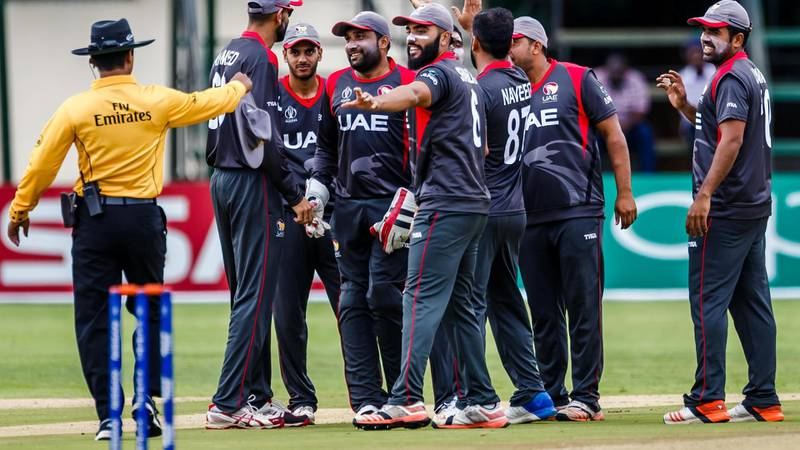 UAE players celebrate a wicket during a practice match between Windies and the United Arab Emirates ahead of the ICC Cricket World Cup Qualifier Trophy matches to be hosted in Zimbabwe March 1 2018. Courtesy ICC