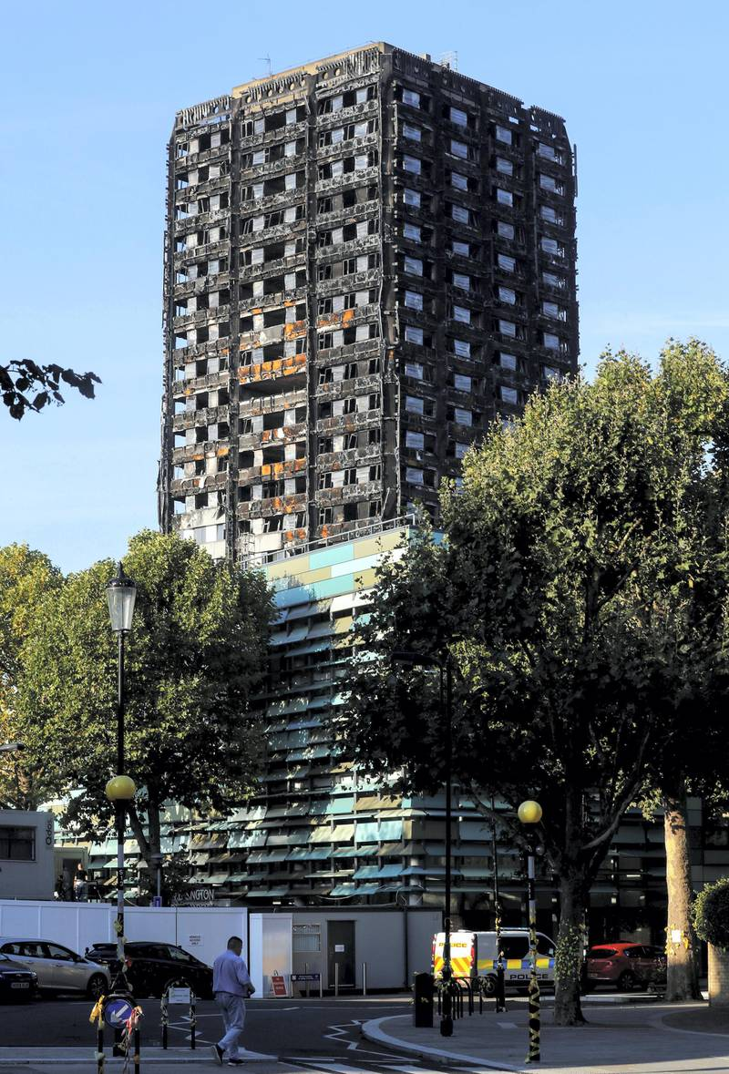 The burnt out remains of the Grenfell apartment tower is seen in North Kensington, London, Britain, September 24, 2017.  REUTERS/Eddie Keogh - RC1A7ECD7060