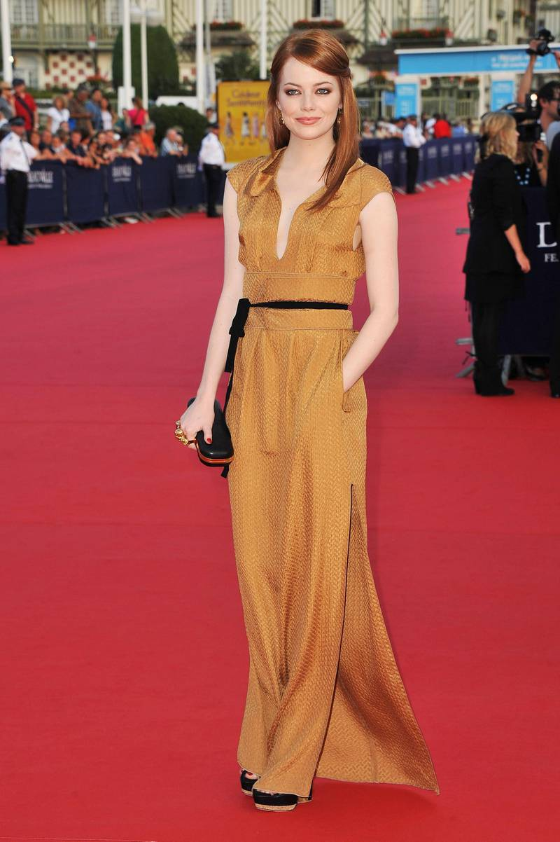DEAUVILLE, FRANCE - SEPTEMBER 02:  Emma Stone arrives at the opening ceremony of the 37th Deauville American Film Festival on September 2, 2011 in Deauville, France.  (Photo by Francois Durand/Getty Images)