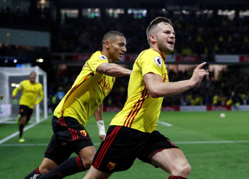 """Soccer Football - Premier League - Watford vs Arsenal - Vicarage Road, Watford, Britain - October 14, 2017   Watford's Tom Cleverley celebrates scoring their second goal with Richarlison     Action Images via Reuters/Paul Childs    EDITORIAL USE ONLY. No use with unauthorized audio, video, data, fixture lists, club/league logos or """"live"""" services. Online in-match use limited to 75 images, no video emulation. No use in betting, games or single club/league/player publications. Please contact your account representative for further details."""