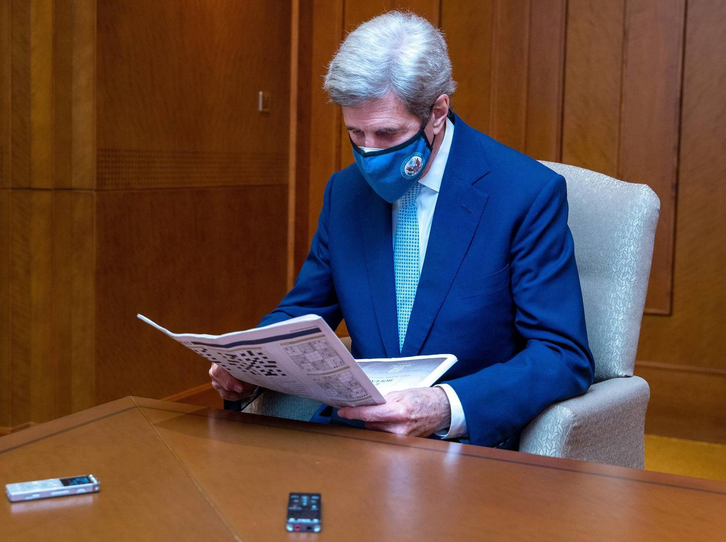 Abu Dhabi, United Arab Emirates, April 4, 2021.  Interview with US Special Presidential Envoy for Climate, John Kerry by Mina Al-Oraibi, editor-in-chief of The National.Victor Besa/The NationalSection:  NA