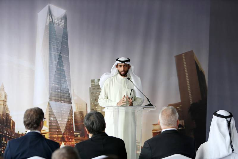 DUBAI , UNITED ARAB EMIRATES – Jan 20 , 2016 : Mohammed Al Shaibani , Executive Director & CEO of the Investment Corporation of Dubai speaking during the ICD Brookfield Place groundbreaking ceremony near DIFC in Dubai. ( Pawan Singh / The National ) For Business. Story by Michael Fahy. ID no : 47373 *** Local Caption ***  PS2001- BROOKFIELD05.jpg