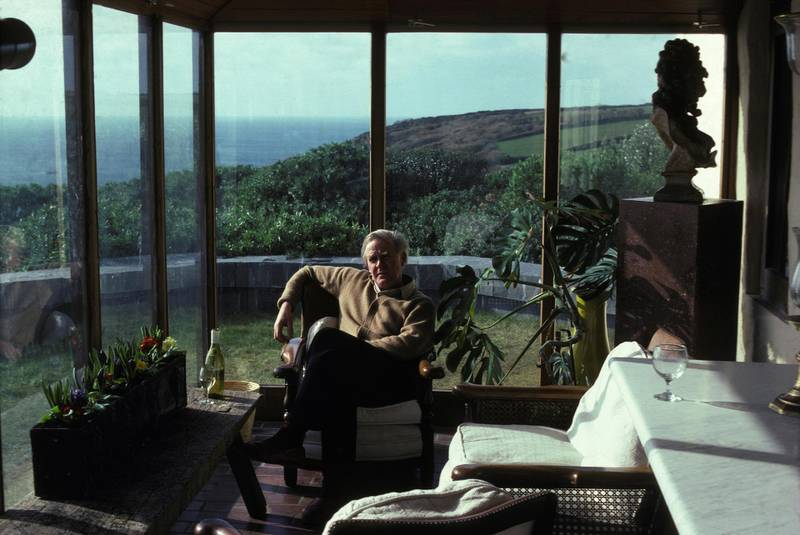 British writer John le Carre at home in Cornwall in February 1983 in United Kingdom. (Photo by Jacob SUTTON/Gamma-Rapho via Getty Images)