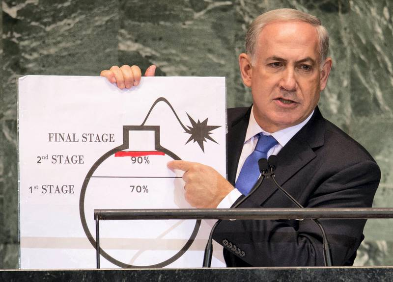 Benjamin Netanyahu, Prime Minister of Israel, uses a diagram of a bomb to describe Iran's nuclear program while delivering his address to the 67th United Nations General Assembly meeting September 27, 2012 at the United Nations in New York. AFP PHOTO / DON EMMERT (Photo by DON EMMERT / AFP)
