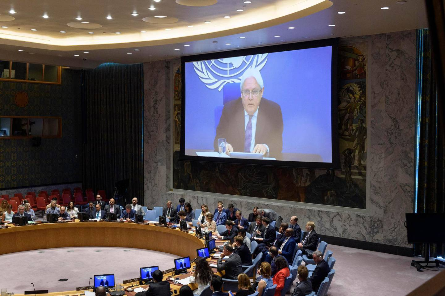 Martin Griffiths (on screens), Special Envoy of the Secretary-General for Yemen, briefs the Security Council meeting on the situation in the Middle East (Yemen). 20 August 2019, United Nations, New York. UN Photo/Loey Felipe