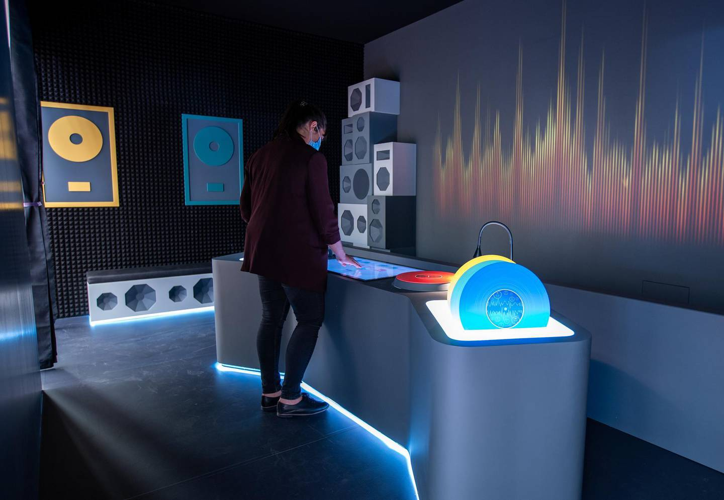 Louvre Abu Dhabi Children's Museum reopens this week. Preview/tour of the revamped space June, 15, 2021. Digital DJ area at the museum. Victor Besa / The National. Reporter: Alexandra Chaves for Arts & Culture