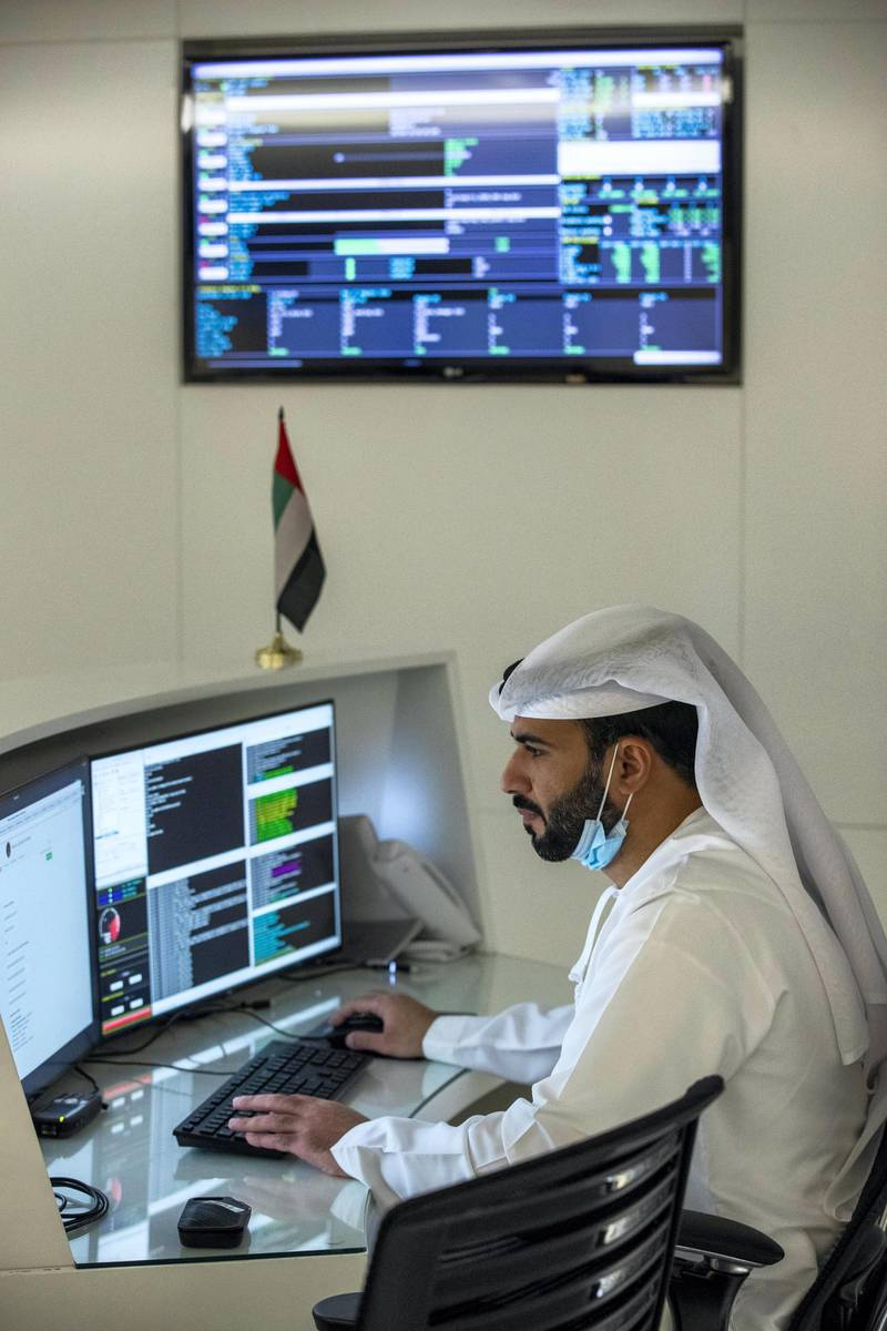 DUBAI, UNITED ARAB EMIRATES. 27 JULY 2020. MBRSC headquarters in Al Khawaneej. One week today since the Hope probe launched to Mars. Mohammed Alblooshi, Flight Controller. (Photo: Antonie Robertson/The National) Journalist: Sarwat Nasir. Section: National.