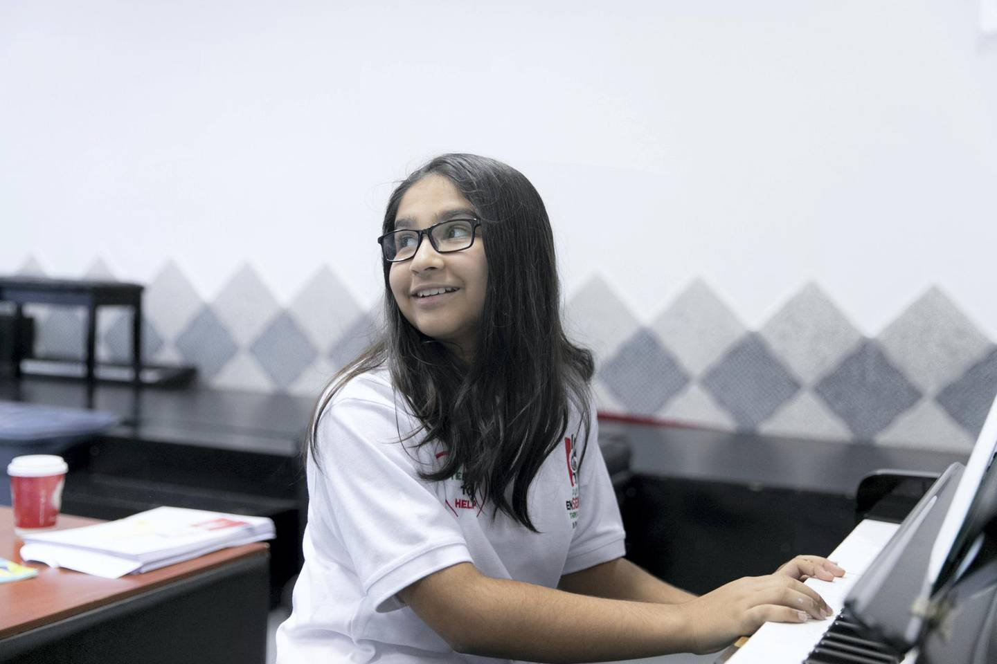 DUBAI, UNITED ARAB EMIRATES - DECEMBER 6, 2018. Zara  Sheikh, a member of Dubai Ensenble Choir, the U.A.E���s first choir for determined children rehearsal session at the Canadian University.(Photo by Reem Mohammed/The National)Reporter: Anam RizviSection:  NA