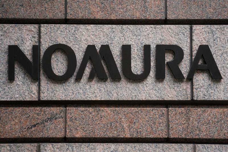 FILE PHOTO: A Nomura logo is pictured at the Japanese company's office in the Manhattan borough of New York City, New York, U.S. June 23, 2017.   REUTERS/Carlo Allegri/File Photo