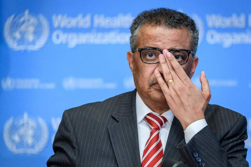 World Health Organization (WHO) Director-General Tedros Adhanom Ghebreyesus attends a daily press briefing on COVID-19, the disease caused by the novel coronavirus, at the WHO heardquaters in Geneva on March 11, 2020. WHO Director-General Tedros Adhanom Ghebreyesus announced on March 11, 2020, that the new coronavirus outbreak can now be characterised as a pandemic. / AFP / Fabrice COFFRINI