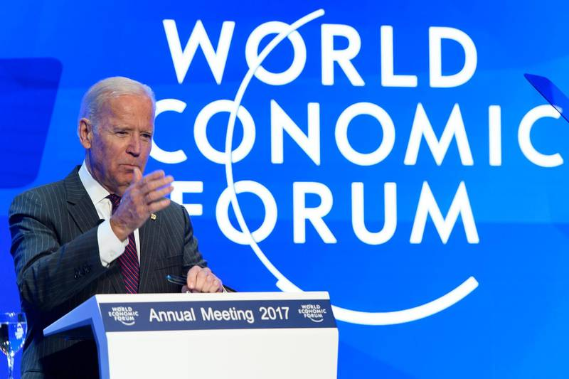 epa05722001 US Vice-President Joe Biden speaks on the Cancer Moonshot initiative, a primary forces of the Obama Administration in its effort to find a cure for cancer, on the eve of the 47th annual meeting of the World Economic Forum (WEF) in Davos, Switzerland, 16 January 2017. The annual meeting brings together business leaders, international political leaders and select intellectuals, to discuss the pressing issues facing the world. The overarching theme of the 2017 meeting, which takes place from 17 to 20 January, is 'Responsive and Responsible Leadership'.  EPA/LAURENT GILLIERON