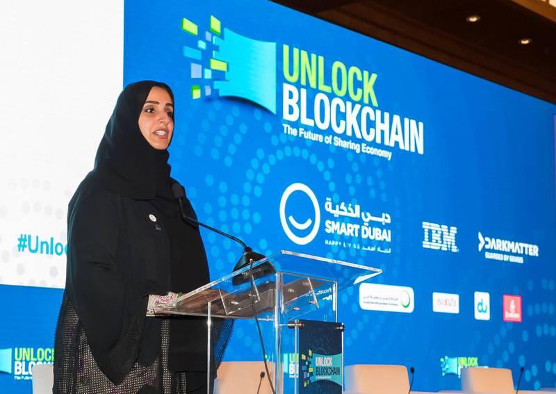 Dubai, United Arab Emirates - January 14th, 2018: Dr. Aisha Bin Bishr, director general, Smart Dubai Office at Unlock Blockchain Forum. Sunday, January 14th, 2018 at The Ritz-Carlton, DIFC, Dubai. Chris Whiteoak / The National