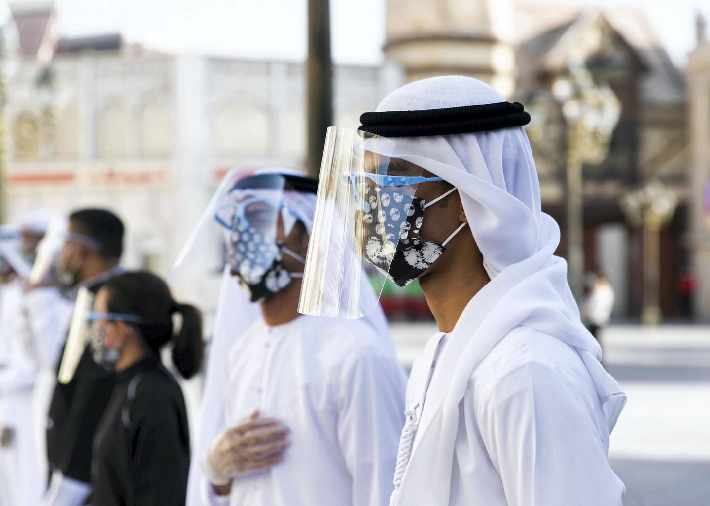 DUBAI, UNITED ARAB EMIRATES. 25 OCTOBER 2020. Checkers line up at the entrance of Global Village. GV celebrates it's 25th season this year.(Photo: Reem Mohammed/The National)Reporter:Section:
