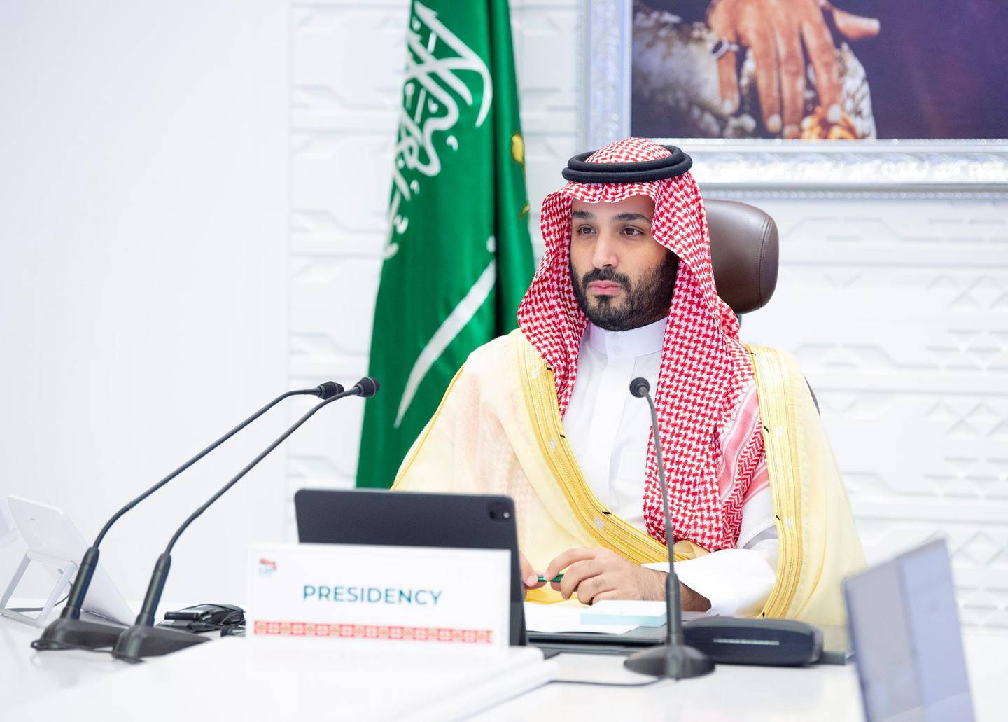 Saudi Crown Prince Mohammed bin Salman chairs final session of the 15th annual G20 Leaders' Summit in Riyadh, Saudi Arabia, November 22, 2020. Bandar Algaloud/Courtesy of Saudi Royal Court/Handout via REUTERS ATTENTION EDITORS - THIS PICTURE WAS PROVIDED BY A THIRD PARTY