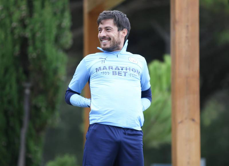 LISBON, PORTUGAL - AUGUST 11: David Silva of Manchester City takes part in a stretching session in the build up to the UEFA Champions League Quarter Final match at the team hotel on August 11, 2020 in Lisbon, Portugal. (Photo by Victoria Haydn/Manchester City FC via Getty Images)