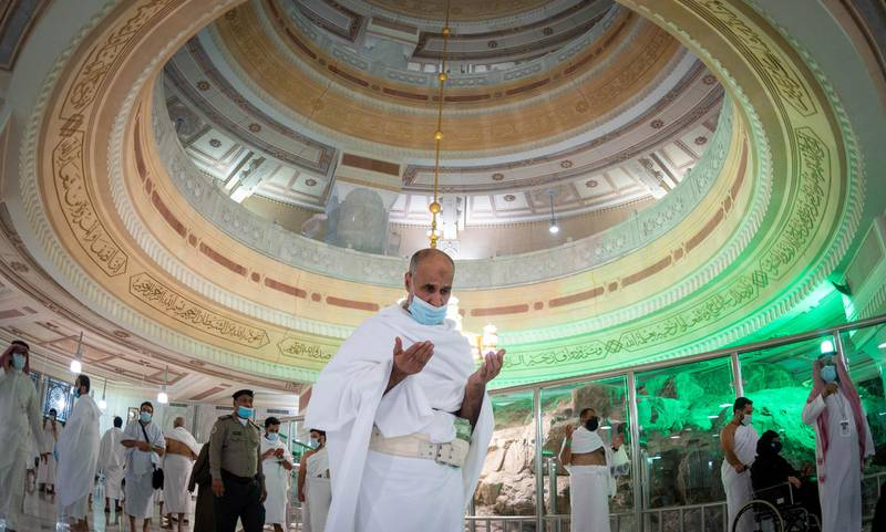 Muslims, keeping a safe social distance, perform Umrah at the Grand Mosque after Saudi authorities ease the coronavirus disease (COVID-19) restrictions, in the holy city of Mecca, Saudi Arabia, October 4, 2020. Ministry of Hajj and Umrah/Handout via REUTERS ATTENTION EDITORS - THIS PICTURE WAS PROVIDED BY A THIRD PARTY NO RESALES. NO ARCHIVES