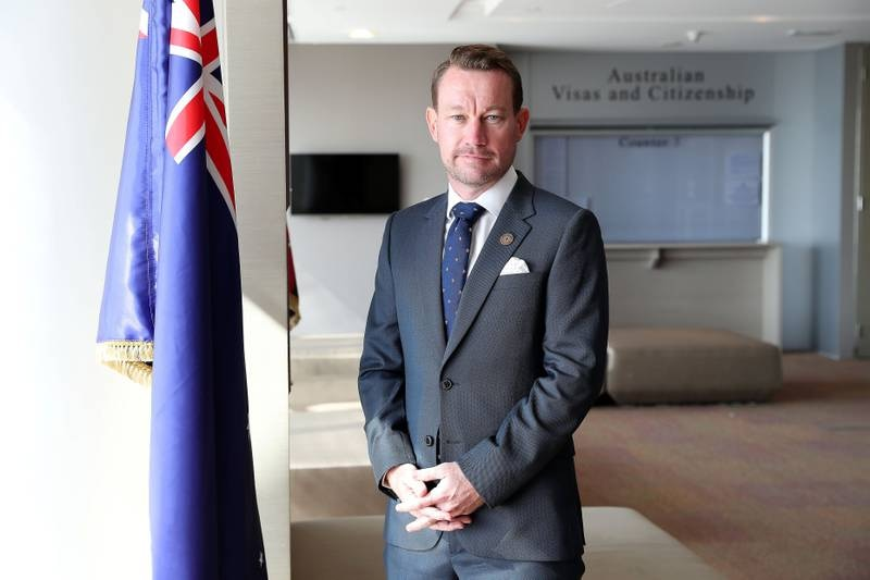 DUBAI , UNITED ARAB EMIRATES , January 10 ��� 2019 :- Justin McGowan, head of Australian national pavilion at Expo 2020 at his office in the Australian Consulate in Burjuman Business Tower in Bur Dubai in Dubai. ( Pawan Singh / The National ) For Business. Story by Alkesh