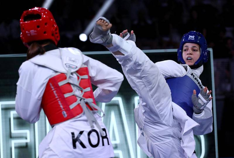 Hedaya Malak (EGY) and Jan-Di Kim (KOR) in action during the World Taekwondo Grand Prix women -67kg semifinal at Foro Italico of Rome, Italy on June 7, 2019 (Photo by Matteo Ciambelli/NurPhoto via Getty Images)