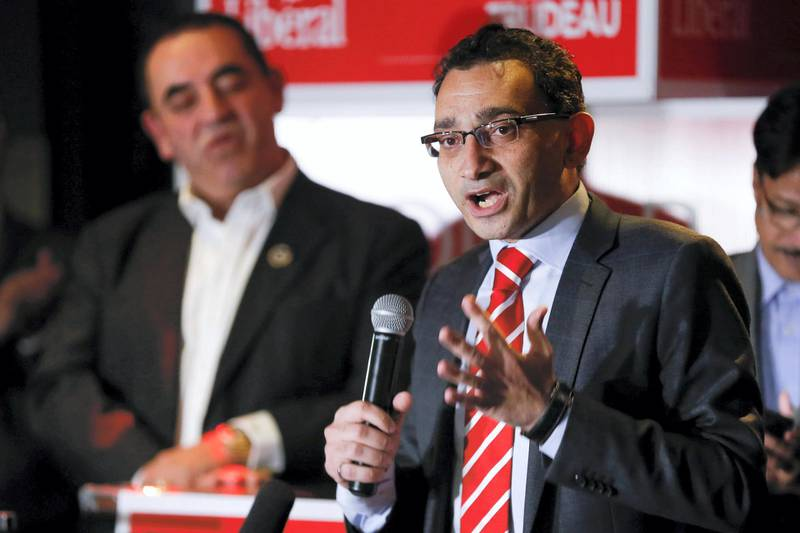 MISSISSAUGA, ON - OCTOBER 19: Omar Alghabra talks to supporters after he won the riding of Mississauga Centre,  October 19, 2015.        (Bernard Weil/Toronto Star via Getty Images)