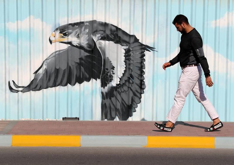 Abu Dhabi, United Arab Emirates - Reporter: N/A: Photo project. Street art and graffiti from around the UAE. Monday, January 27th, 2020. Marina, Abu Dhabi. Chris Whiteoak / The National
