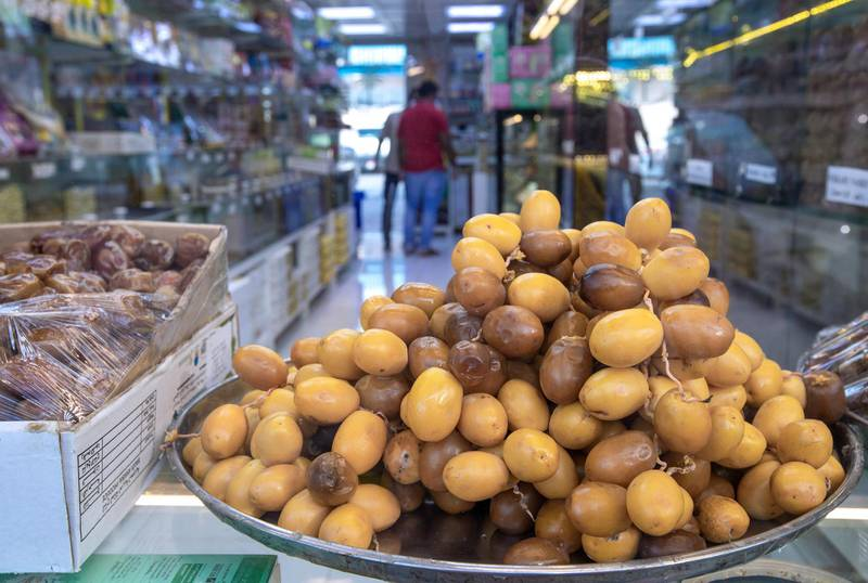 Abu Dhabi, United Arab Emirates, April 16, 2020.  Ramadan date sales at the Abu Dhabi Dates Marketat, Mina Zayed.Victor Besa / The NationalSection:  NAFor:  Standalone/Stock Images