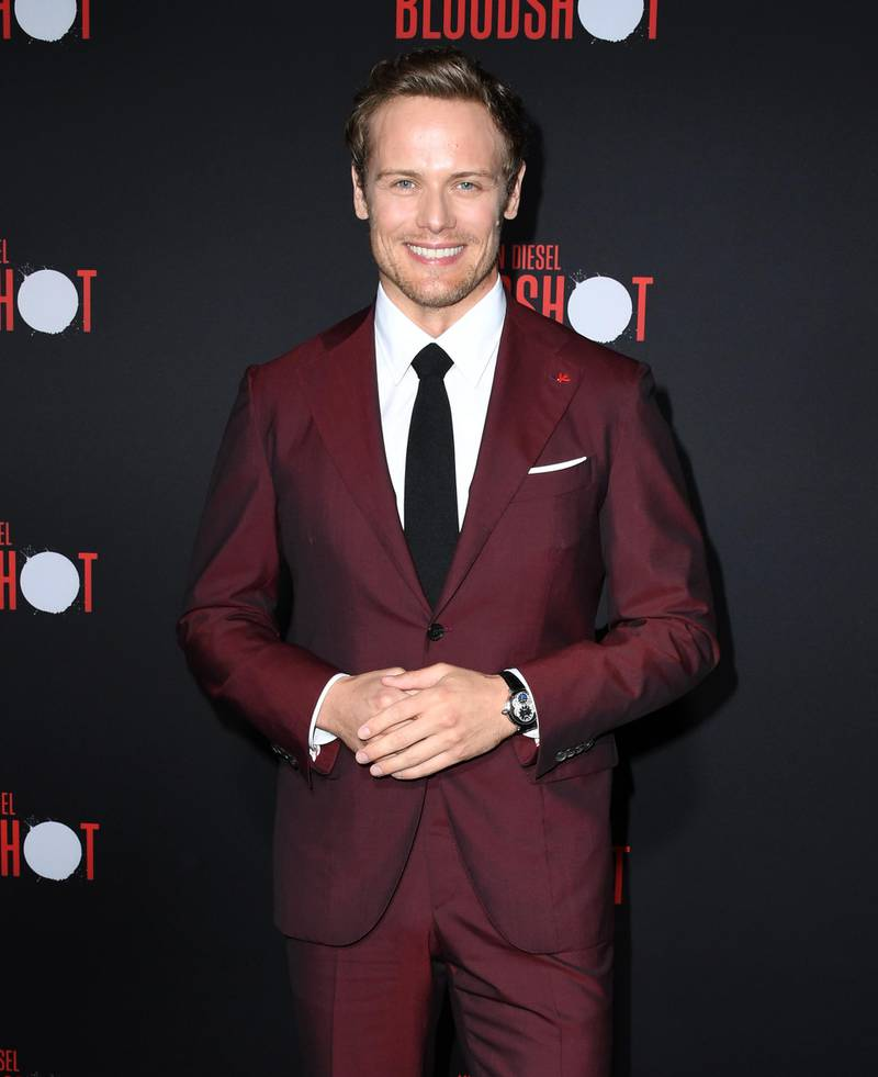 """LOS ANGELES, CALIFORNIA - MARCH 10:  Sam Heughan attends the premiere of Sony Pictures' """"Bloodshot"""" on March 10, 2020 in Los Angeles, California. (Photo by Jon Kopaloff/Getty Images)"""