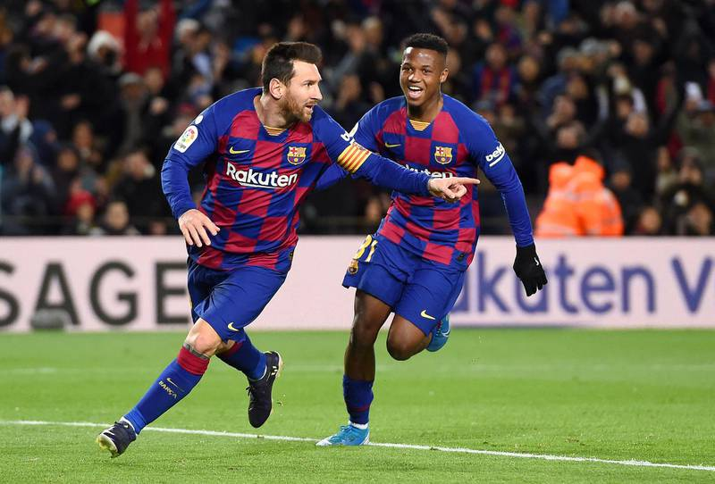 BARCELONA, SPAIN - JANUARY 19: Lionel Messi of FC Barcelona celebrates after scoring his team's first goal during the La Liga match between FC Barcelona and Granada CF at Camp Nou on January 19, 2020 in Barcelona, Spain. (Photo by Alex Caparros/Getty Images)