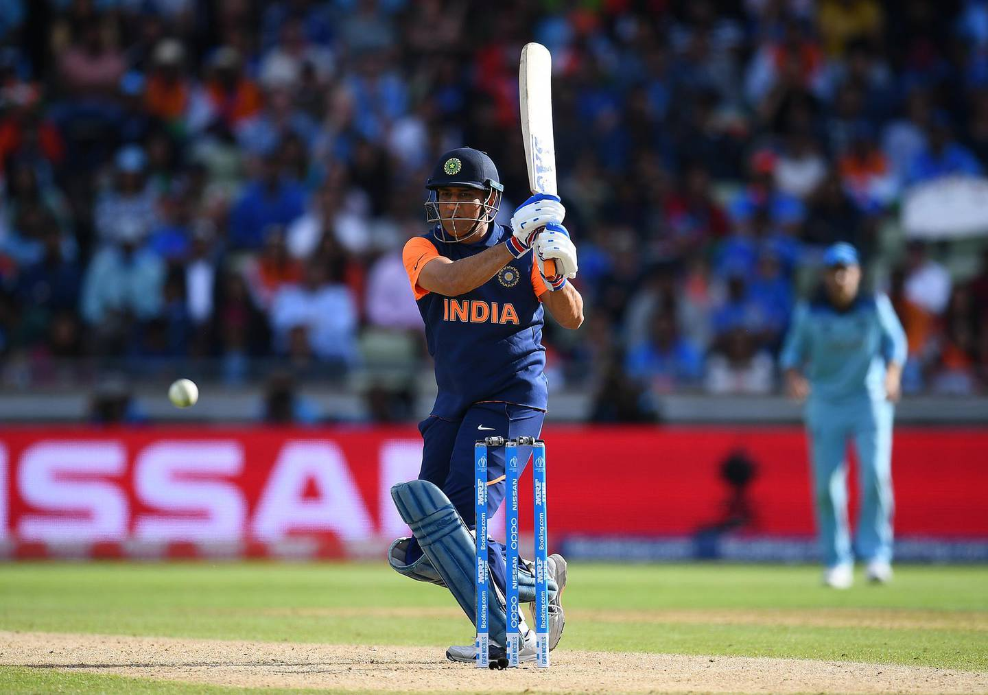 BIRMINGHAM, ENGLAND - JUNE 30:  MS Dhoni of India in action batting during the Group Stage match of the ICC Cricket World Cup 2019 between England and India at Edgbaston on June 30, 2019 in Birmingham, England. (Photo by Clive Mason/Getty Images)