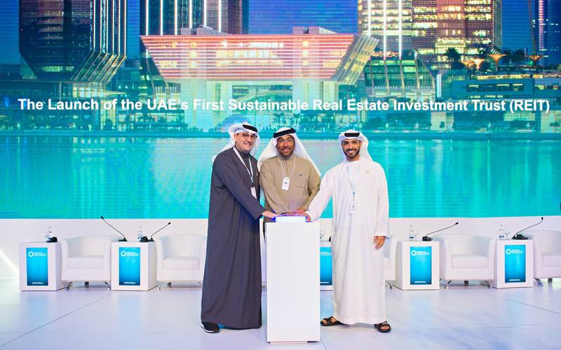 Abu Dhabi, United Arab Emirates; January 15, 2020: Masdar, a subsidiary of Mubadala Investment Company and one of the world's leading renewable energy and sustainable real estate companies, has announced the launch of a sustainable real estate investment trust (REIT) – the first 'green' REIT to be introduced in the UAE.The REIT was launched at Abu Dhabi Sustainability Week (ADSW), by HE Ahmed Ali Al Sayegh, Minister of State and Chairman of Abu Dhabi Global Market (ADGM), Khaled Al Qubaisi, Chief Executive Officer of Aerospace, Renewables & ICT at Mubadala Investment Company, and Mohamed Jameel Al Ramahi, Chief Executive Officer of Masdar. The REIT will have an initial valuation of between AED950 million (US$258.7 million) and AED1 billion. Courtesy Masdar