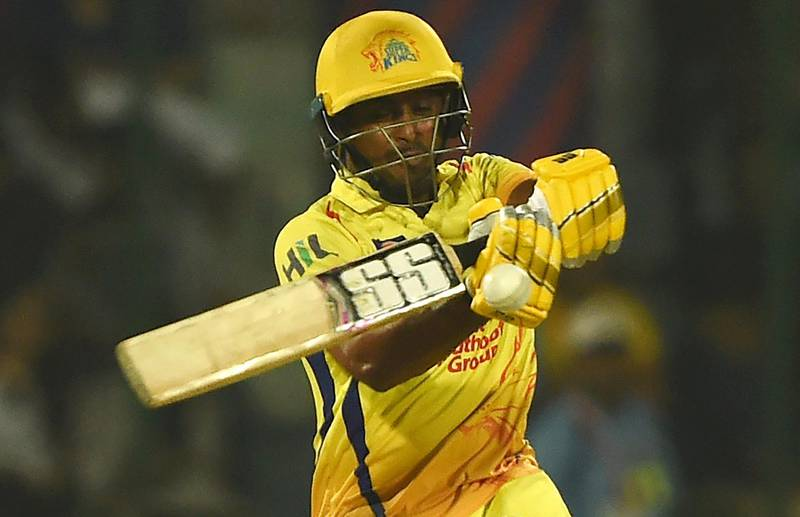Chennai Super Kings cricketer Ambati Rayudu plays a shot during the 2018 Indian Premier League (IPL) Twenty20 cricket match between Delhi Daredevils and Chennai Super Kings at The Feroz Shah Kotla Cricket Ctadium in New Delhi on May 18, 2018. / AFP PHOTO / MONEY SHARMA / ----IMAGE RESTRICTED TO EDITORIAL USE - STRICTLY NO COMMERCIAL USE----- / GETTYOUT