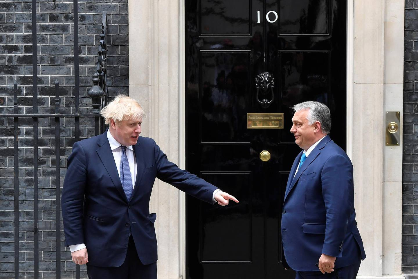 Britain's Prime Minister Boris Johnson meets Hungary's Prime Minister Viktor Orban at Downing Street in London, Britain May 28, 2021. REUTERS/Toby Melville