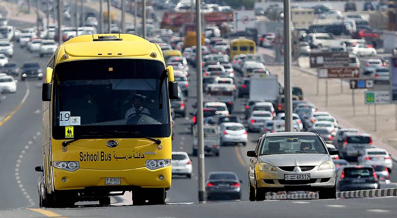 Dubai, United Arab Emirates- October,01, 2014:  Government and Private Schools in UAE will be using only the Emirates transport buses . ( Satish Kumar / The National )  For News school bus