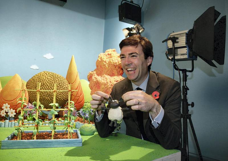 BRISTOL, UNITED KINGDOM - OCTOBER 23:  Culture Secretary, Andy Burnham laughs on set at Aardman animation studios and meets their new character Timmy from Timmy Time as part of visit to highlight Britain's creative industries on October 23, 2008 in Bristol, England. The visit to the studios, best known for their Wallace and Grommit and Creature Comforts productions, coincided with an update on the progress of the creative economy, as well as giving details about a new international conference for creative business leaders.  (Photo by Matt Cardy/Getty Images)