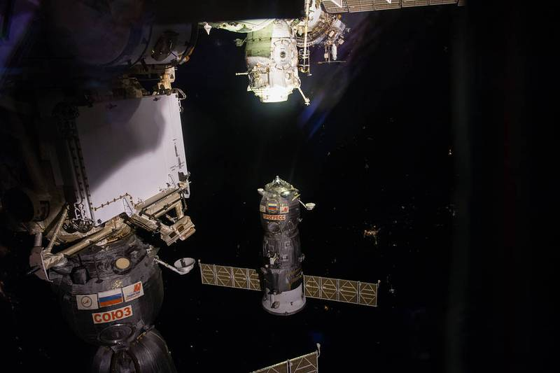 Progress MS-06 docked at the International Space Station,.Was this crashing Russian cargo ship reentering the Earth's atmosphere  the source of bright lights seen streaking over the UAE on Monday night?