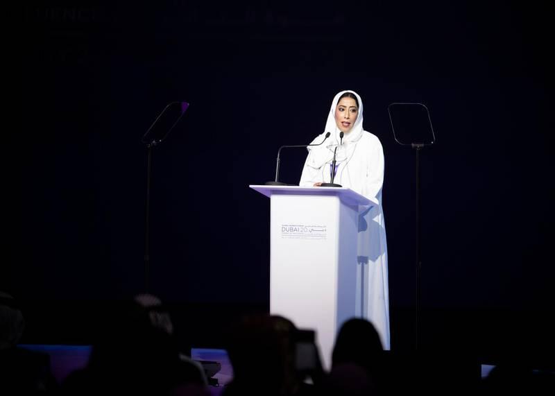 DUBAI, UNITED ARAB EMIRATES. 16 FEBRUARY 2020. Muna Ghanim Ghanim Al Marri, Chairmanperson of Dubai Women's Establishment, speaking at Global Women's Forum Dubai.(Photo: Reem Mohammed/The National)Reporter:Section: