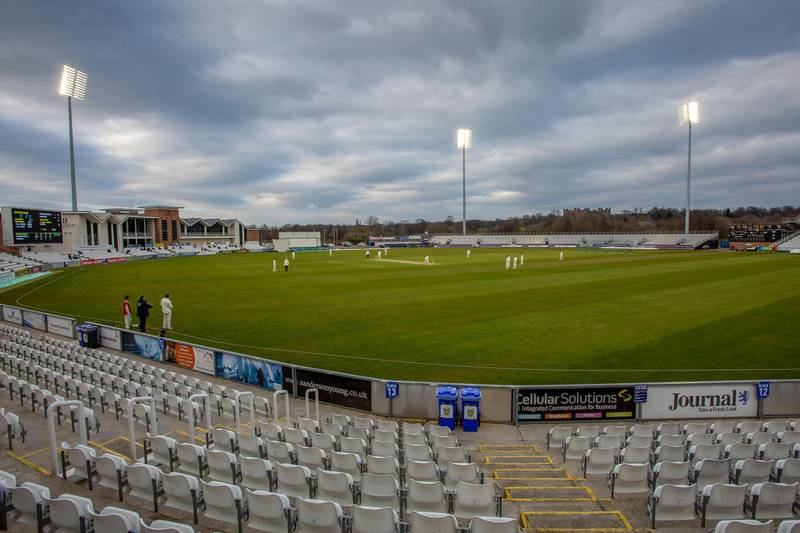 A general view of the ground with the floodlights on during the MCC University match between Durham County Cricket Club and Durham MCCU at Emirates Riverside, Chester le Street on Wednesday 27th March 2019. (Photo by Mark Fletcher/MI News/NurPhoto via Getty Images)