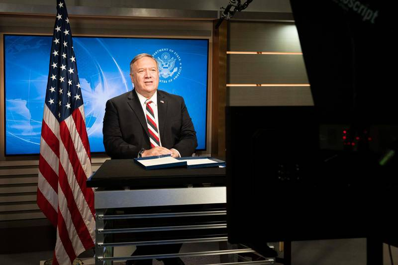 Secretary of State Michael R. Pompeo delivers remarks at the virtual launch of the inaugural U.S.-UAE Strategic Dialogue, at the Department of State, on October 20, 2020. Courtesy US State Department