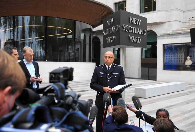 Metropolitan Police Deputy Assistant Commissioner Neil Basu speaks to the media outside New Scotland Yard, London, after a woman in her twenties was shot by police and four people arrested during terror raids in London and Kent.