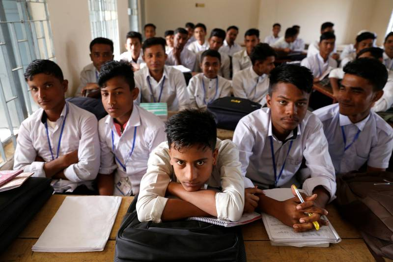 Rohingya students are seen during a class at school, at Leda refugee camp in Cox's Bazar, Bangladesh, February 9, 2019. Picture taken February 9, 2019. REUTERS/Jiraporn Kuhakan