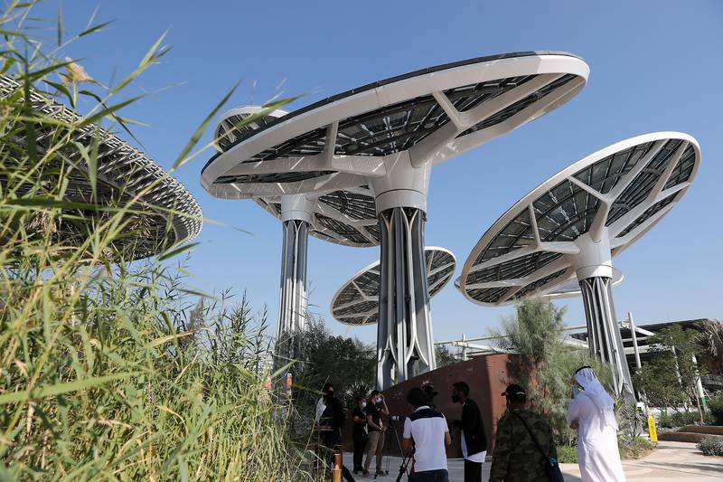 DUBAI, UNITED ARAB EMIRATES , January 16 – 2021 :- Outside view of the Dubai Expo 2020 Sustainability Pavilion during the media tour in Dubai. (Pawan Singh / The National) For News/Online/Instagram/Big Picture. Story by Sarwat