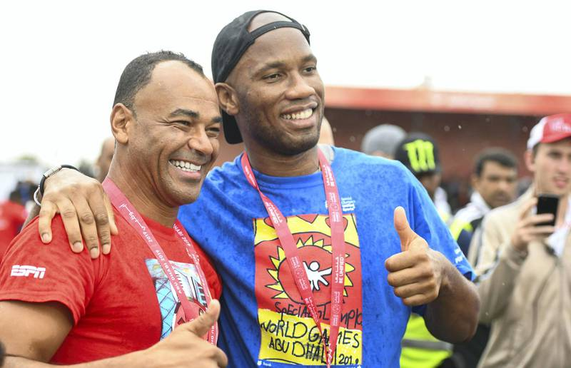 Abu Dhabi, United Arab Emirates - Marcos Evangelista de Morais known as Cafu, Brazilian former professional footballer, and Didier Yves Drogba Tebily, an Ivorian retired profession footballer unite at the Unified Sports Experience at Zayed Sports City. Khushnum Bhandari for The National