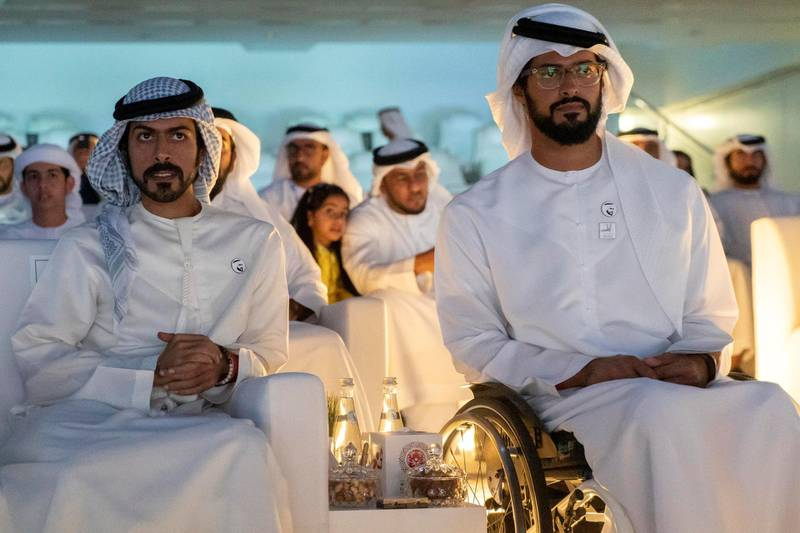 ABU DHABI, UNITED ARAB EMIRATES - March 21, 2019:  HH Sheikh Zayed bin Hamdan bin Zayed Al Nahyan (R) and HH Sheikh Khalifa bin Tahnoon bin Mohamed Al Nahyan, Director of the Martyrs' Families' Affairs Office of the Abu Dhabi Crown Prince Court (L), attend the closing ceremony of the Special Olympics World Games Abu Dhabi 2019, at Zayed Sports City.  ( Rashed Al Mansoori / Ministry of Presidential Affairs ) ---
