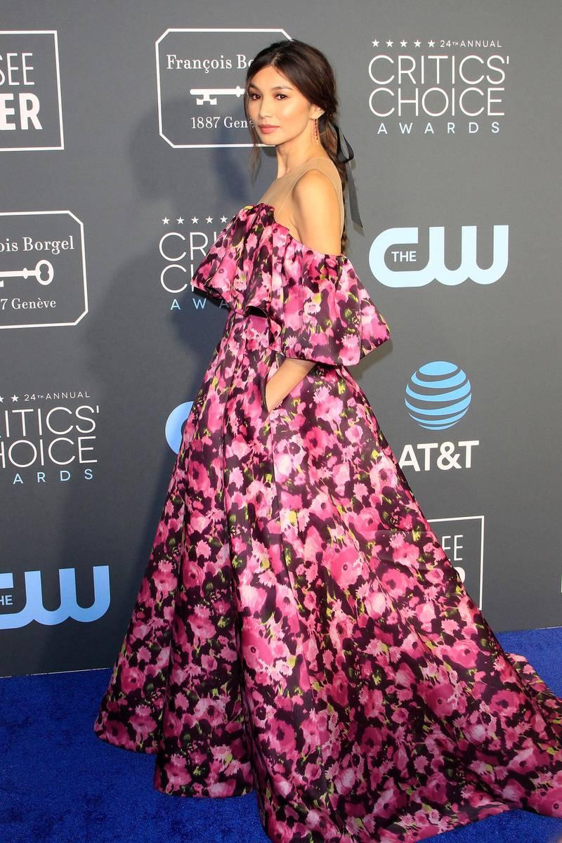 epa07281664 British actress Gemma Chan arrives for the 24th Annual Critics' Choice Awards at Barker Hangar in Santa Monica, California, USA, 13 January 2019. The Critics' Choice Awards honors the finest in cinematic and television achievement.  EPA-EFE/NINA PROMMER