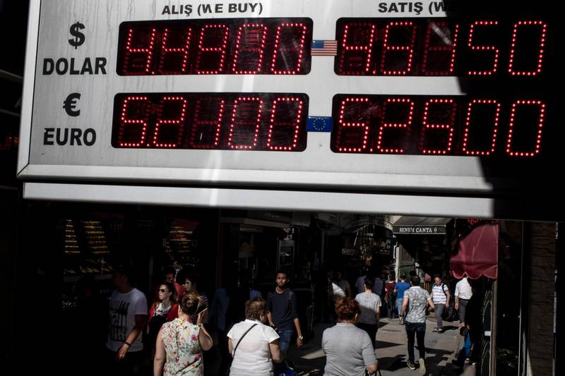 ISTANBUL, TURKEY - MAY 30:  People pass a currency exchange board showing prices for the USD and Euro at the entrance to Istanbul's famous Grand Bazaar on May 30, 2018 in Istanbul, Turkey. Fears are growing that Turkey's economy is heading into crisis as the Lira continues to fluctuate.The lira has lost more than 20% of it's value against the dollar since the start of the year.  (Photo by Chris McGrath/Getty Images)