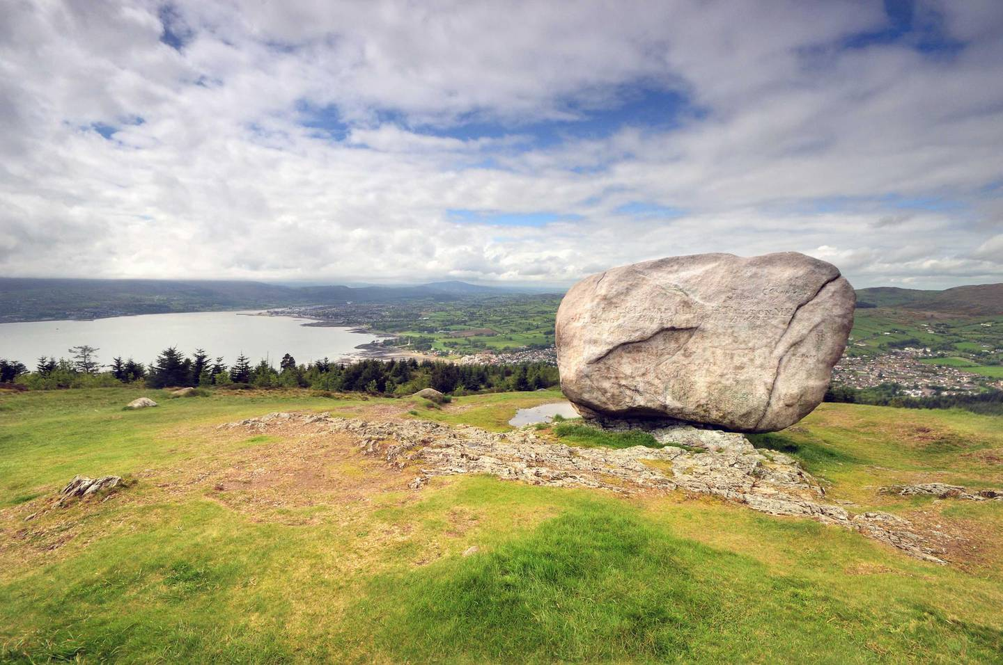 The Cloughmore Stone in Kilbroney (Rostrevor) Forest Park in County Down, Northern Ireland. Overlooking Carlingford Lough. Getty Images