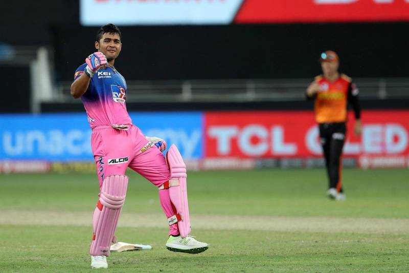 Riyan Parag of Rajasthan Royals celebrates the win during match 26 of season 13 of the Dream 11 Indian Premier League (IPL) between the Sunrisers Hyderabad and the Rajasthan Royals held at the Dubai International Cricket Stadium, Dubai in the United Arab Emirates on the 11th October 2020.  Photo by: Ron Gaunt  / Sportzpics for BCCI