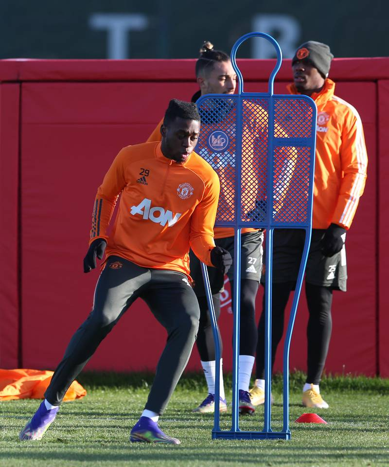 MANCHESTER, ENGLAND - DECEMBER 27: (EXCLUSIVE COVERAGE) Aaron Wan-Bissaka of Manchester United in action during a first team training session at Aon Training Complex on December 27, 2020 in Manchester, England. (Photo by Matthew Peters/Manchester United via Getty Images)