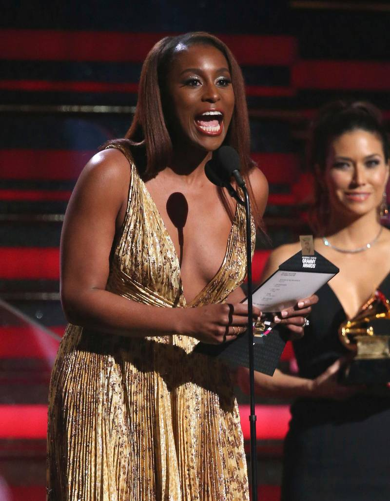 Issa Rae presents the award for best rap album at the 62nd annual Grammy Awards on Sunday, Jan. 26, 2020, in Los Angeles. (Photo by Matt Sayles/Invision/AP)
